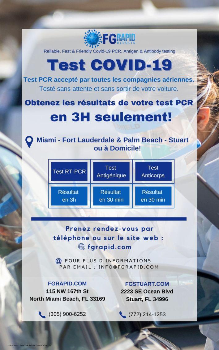 Test PCR rapide de covid-19 à Miami, Lauderdale, Stuart Palm Beach