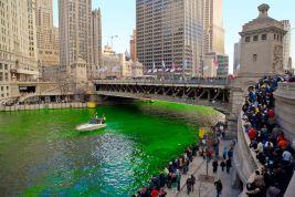 La Chicago River durant la St Patrick