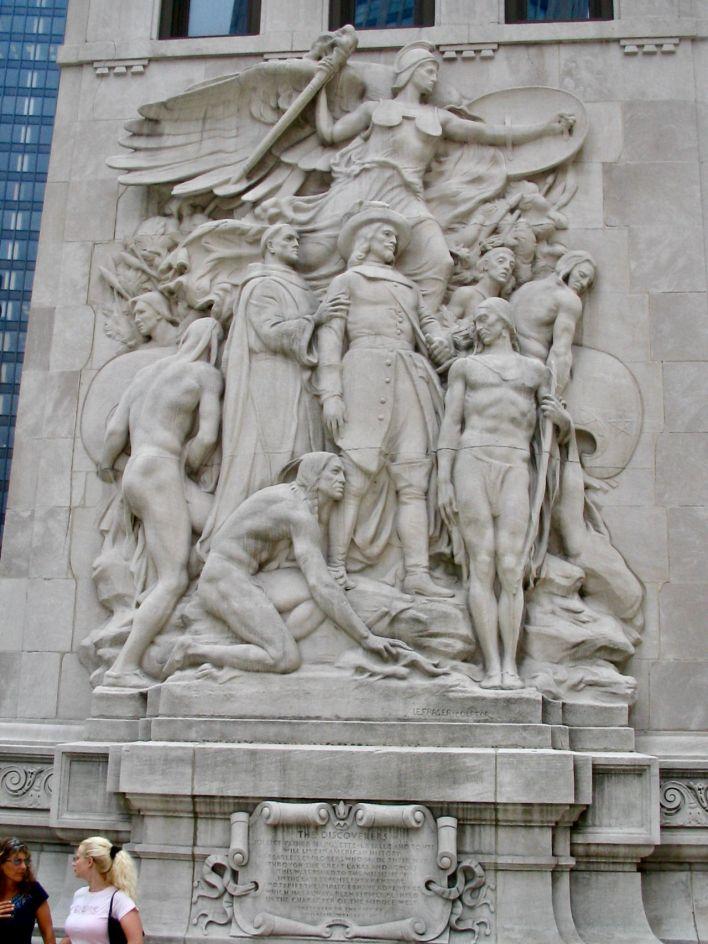 Hommage aux découvreur français sur le Desable Bridge de Chicago.