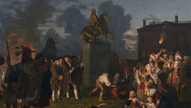 Destruction de la statue de Georges III en 1776 après l'arrivée de George Washington à New-York City. En réalité ce furent les esclaves qui la firent tomber sur ordre de leurs maîtres.