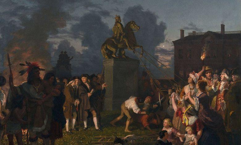 Destruction de la statue de Georges III en 1776 après l'arrivée de George Washington à New-York City. En réalité ce furent les esclaves qui la firent tomber sur ordre de leurs maîtres.