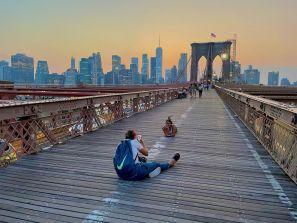 Coucher de soleil sur le pont de Brooklyn
