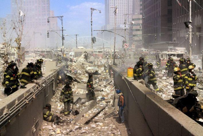 Les pompiers à Manhattan après le 11 septembre