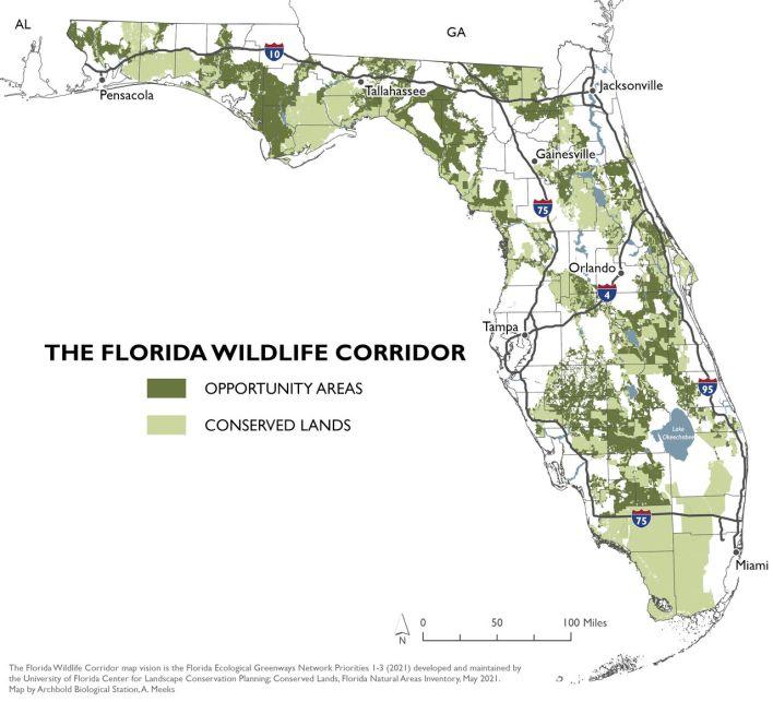 Carte du Florida Wildlife Corridor