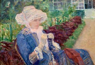 """Lyda crocheting in the Garden at Marly"" de Mary Cassatt (1880). Metropolitan Museum of Art de New-York"