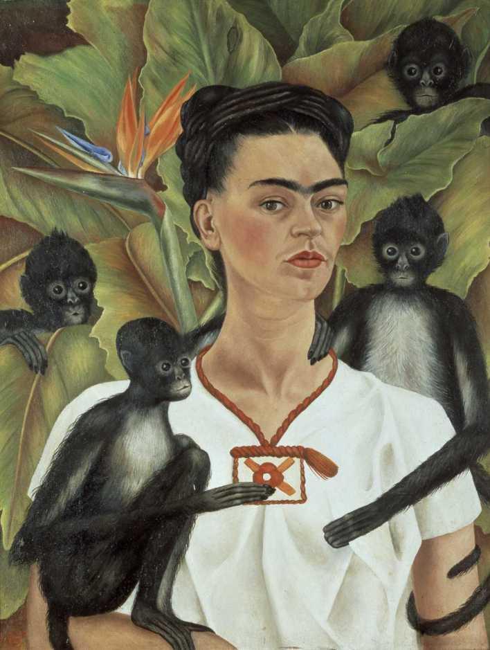 Autoportrait de Frida Kahlo avec des singes (1953).