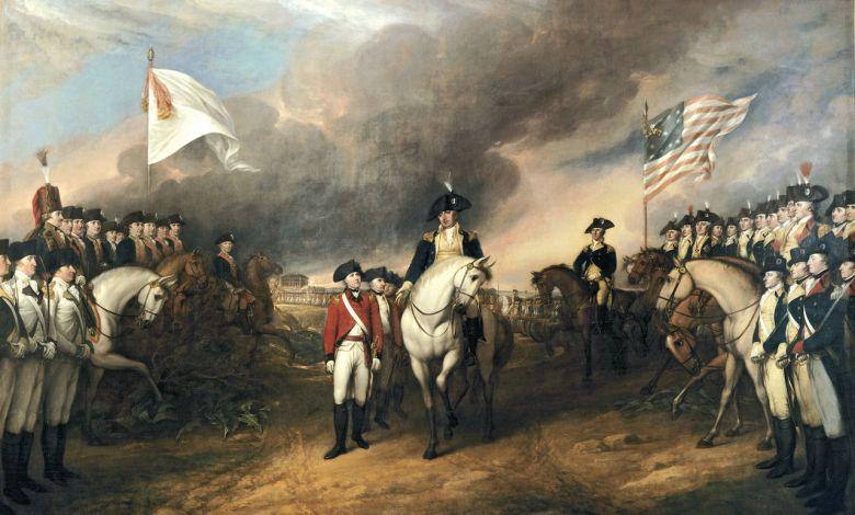 Tableau de John Trumbull (1820) montrant Cornwallis et ses troupes britanniques capituler devant Benjamin Lincoln, entouré des Français (à gauche) et des Continentaux (à droite).