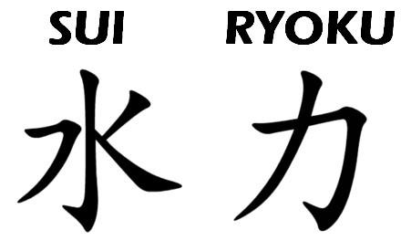 Écriture japonais : kanji idéogramme eau force hydraulique