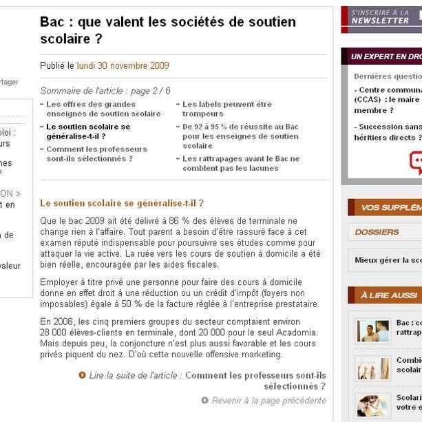 """dossierfamilial.com est l'édition en ligne de la revue du même nom. Cet article est paru dans l'édition en ligne du 30 novembre 2009. À l'occasion d'un article """"Que valent les sociétés de soutien scolaire"""", une journaliste m'a contacté. Page 2"""