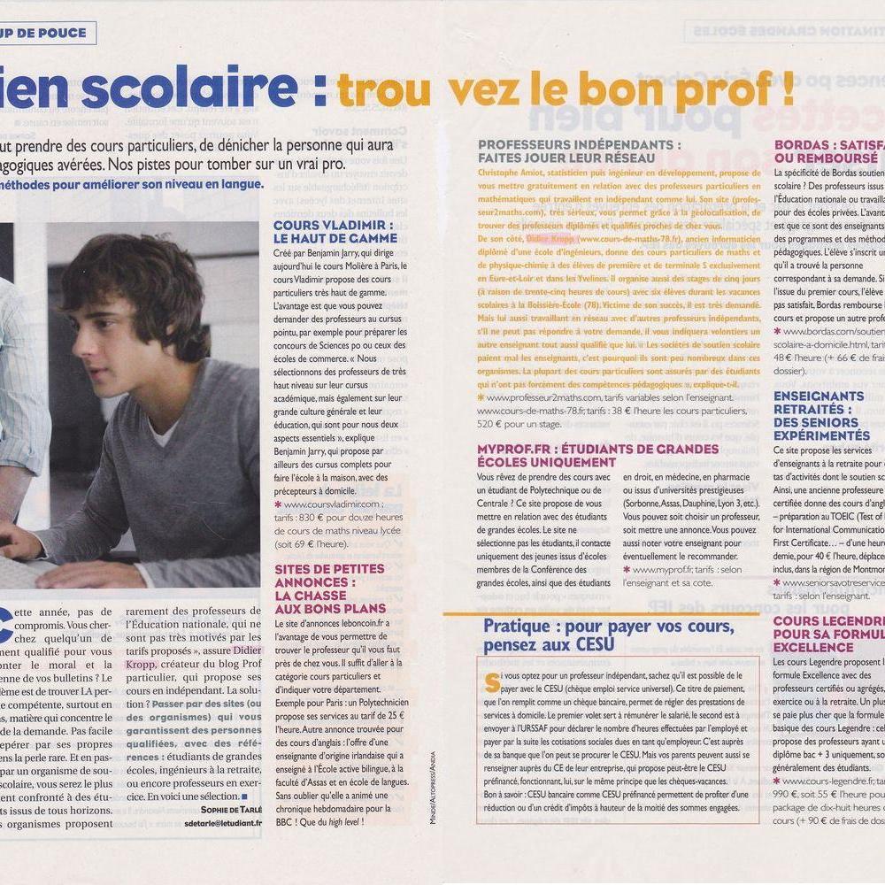 Article paru dans l'Étudiant d'octobre 2011