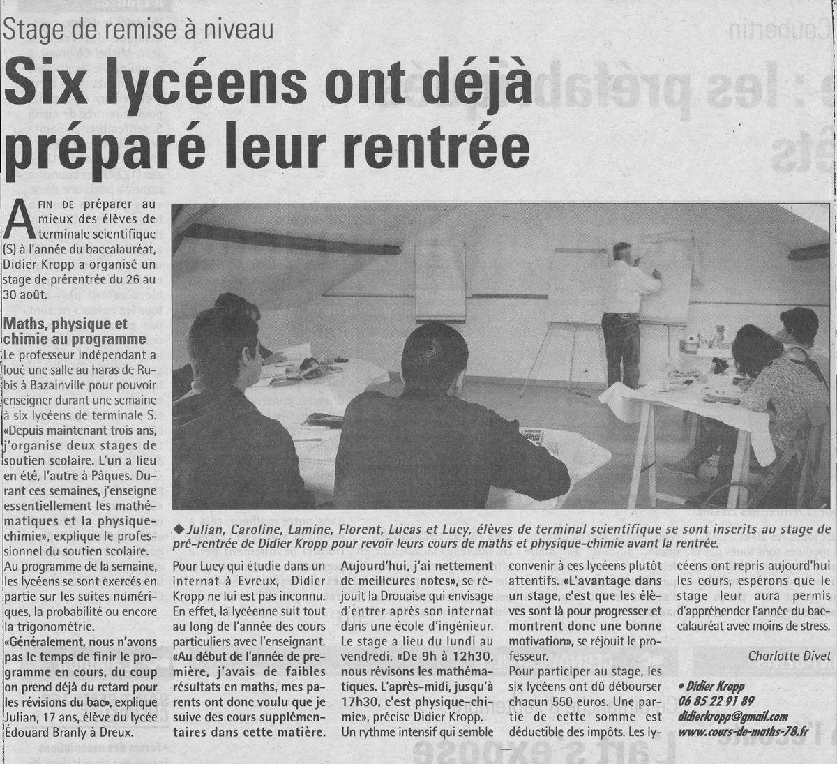 Article paru dans Toutes les nouvelles le 4 septembre 2013