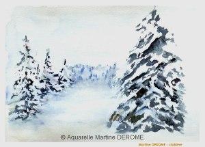 Martine DEROME Clairière enneigée (visioateliers)