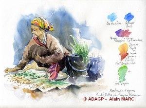 Au marché de Nampam 2 Carnet de Birmanie - Aquarelle Alain MARC