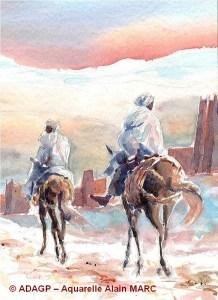 Retour au Ksar (détail) Carnet du Maroc - Alain MARC -