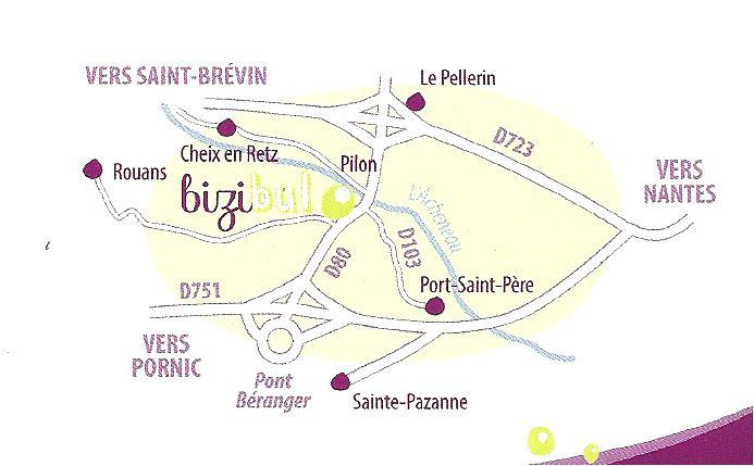 L'atelier Bizibul à Port-Saint-Père (44) se situe entre Nantes et Pornic. Non loin des communes de Le Pellerin, Cheix en retz, Sainte Pazanne, Brains, La Montagne, St Jean de boiseau et st mars de coutais.
