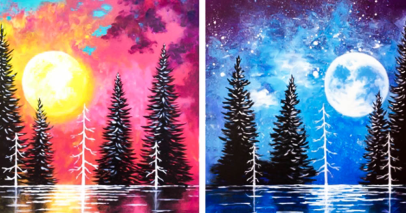 Moonrise And Sunset Lake Partner Painting - Painting Classes New ...