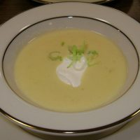 Potato Leek Soup with sour cream