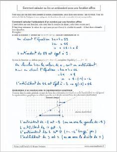 comment savoir calculer calcul trouver antécédent fonction affine