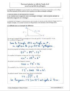 comment savoir calculer calcul un cote angle droit triangle rectangle avec propriete de pythagore - methode et exemple