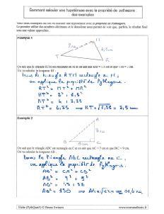comment savoir calculer calcul hypotenuse triangle rectangle avec propriete de pythagore - des exemples