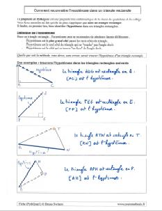 commant savoir reconnaitre hypotenuse dans un triangle rectangle pour pythagore