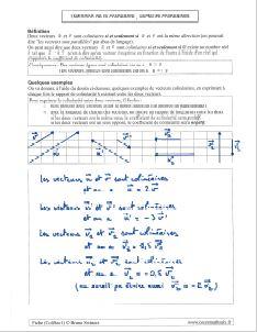 vecteurs colineaires definition colinearite exemples