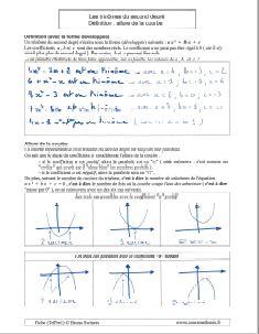 trinomes du second degre definition et allure de la courbe