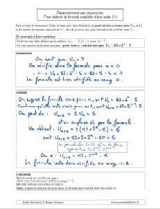 comment faire un raisonnement par recurrence pour avoir obtenir formule explicite suite en fonction de n ( 1 )