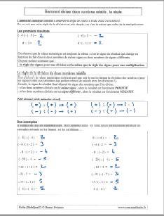 comment diviser la division de deux nombres relatifs - regle - methode - exemples