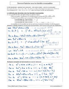 comment utiliser les trois identités égalités remarquables pour factoriser - la factorisation