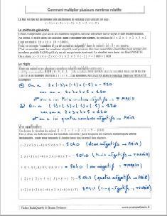 comment multiplier la multiplication de plusieurs nombres relatifs - regle - methode - exemples