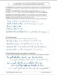 les conventions et les calculs de base à maitriser dans le calcul littéral et algébrique