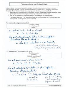 Quel est le lien , comment passer d'un programme de calculs à une écriture littérale et algébrique