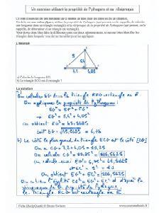 un exercice type avec utilisation de la propriete de pythagore et la reciproque