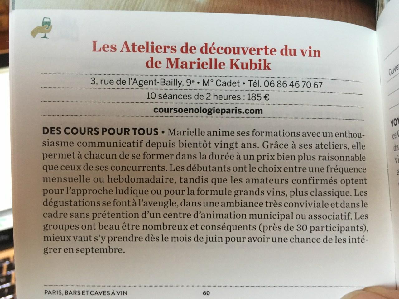 guide pari gramme les ateliers vins Marielle Kubik