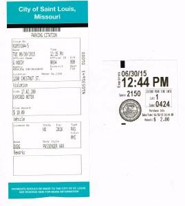 scan of parking ticket and meter receipt