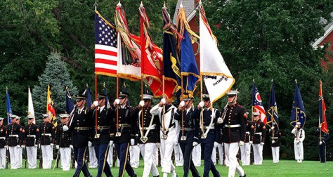 Military with fringed flags