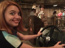 Laura's ready to drive on the Indiana Jones Adventure ride.