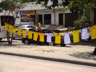 Jerseys for sale on the street -- a ubiquitous sight in the days just before any game.