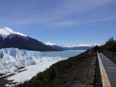 """To the left, one can see the thin arm of water connecting the two sides of Lake Argentino. This is called the """"Canal de Témpanos"""" - Iceberg Canal - because of all the icebergs formed by the calving of the glacier."""