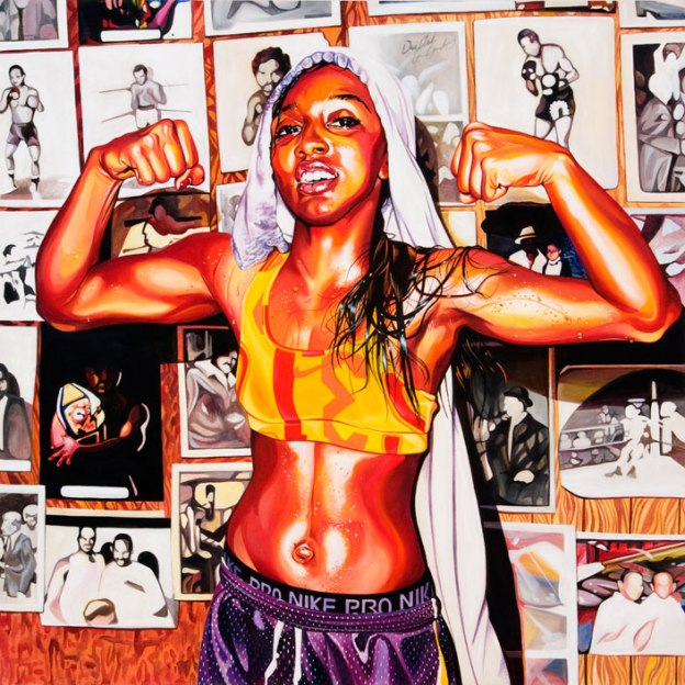 Candice Wiggins, 2009 40 x 40 inches acrylic on canvas. This painting was commissioned by Nike for the Delicious campaign.
