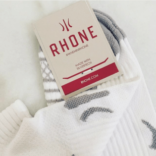 "RHONE ""IN THE BAG: Your silver tech socks."""