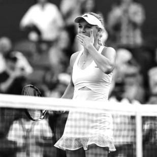 Caroline Wozniacki Wimbledon on-trend mesh trim dress with cut-out midriff by Adidas