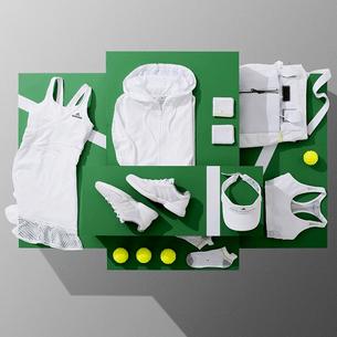 Caroline Wozniacki Wimbledon whites kit with mesh trim dress by Adidas