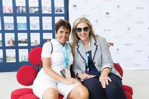 Ilana Kloss, CEO/Commissioner Mylan World TeamTennis and Marina Merzel, Founder COURTGIRL MAG at the COURTGIRL Lifestyle Experience at the Mylan World TeamTennis Finals, Forest Hills Stadium