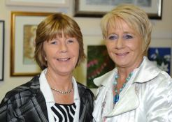 Eileen Deehan (left) and her sister, Joan O'Donovan at the Art Exhibition during the Courtmacsherry Harbour Festival. Photo: Martin Walsh.