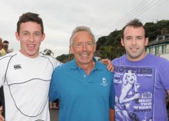 The Dinan family from Glanmire took the top three places in the 800 metres at the Courtmacsherry Harbour Festival Street Races. Steve (left) won the race from his father, Paul and brother, Alan. Picture: Martin Walsh.