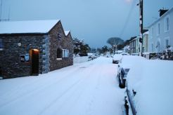 RNLI Station and snow - rare sight in the village which has a micro climate usually