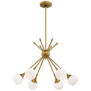 George Kovacs Pontil Honey Gold Six-Light Chandelier