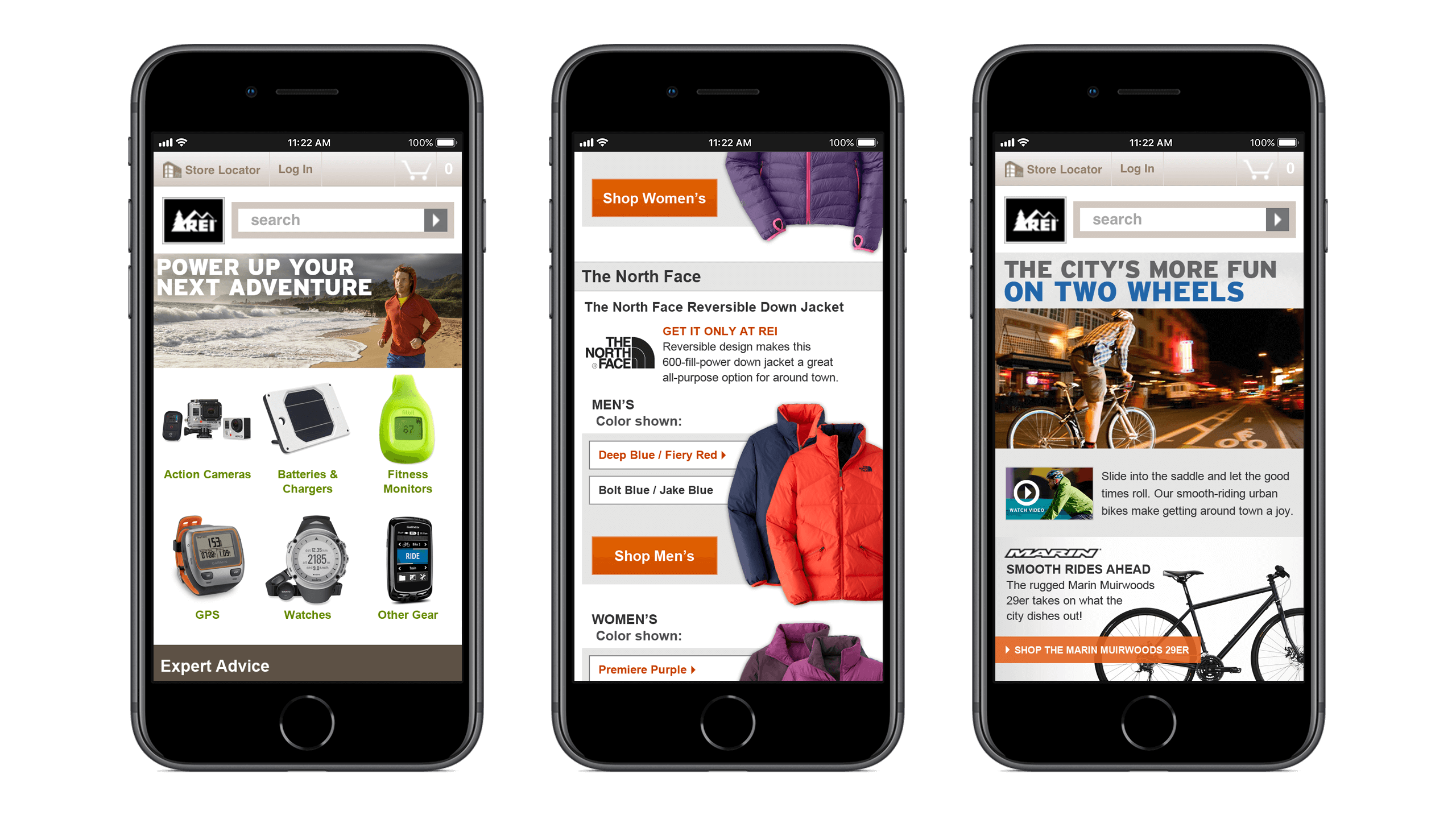 REI mobile retail campaign landing page designs, Courtney Comfort